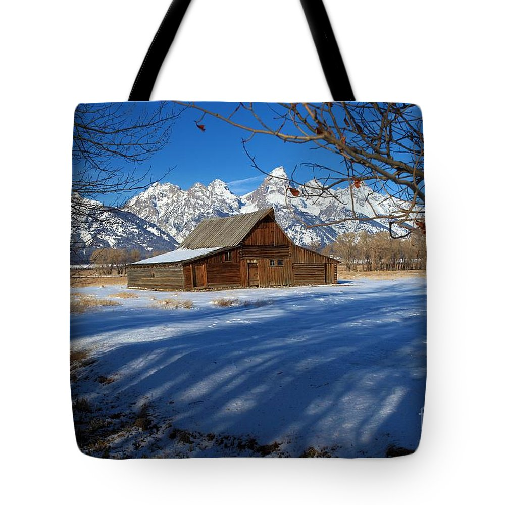 Grand Teton National Park Tote Bag featuring the photograph Moulton Barn by Adam Jewell