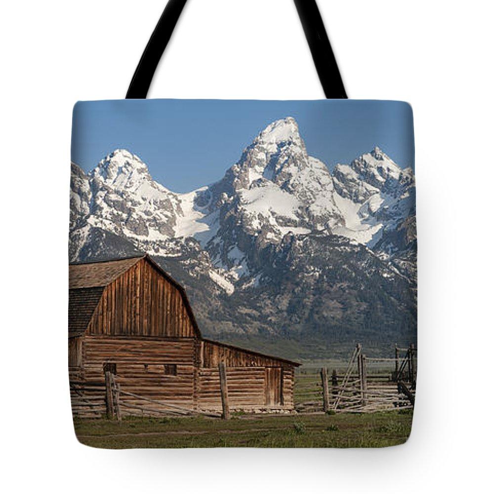 Grand Teton Tote Bag featuring the photograph Moulton Barn - Grand Tetons I by Sandra Bronstein
