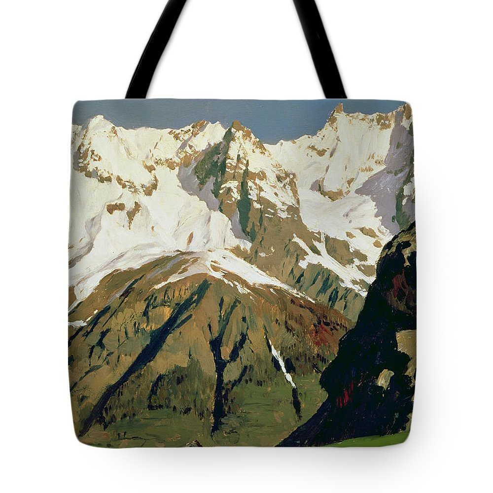 Snow Capped Tote Bag featuring the painting Mount Blanc Mountains by Isaak Ilyich Levitan