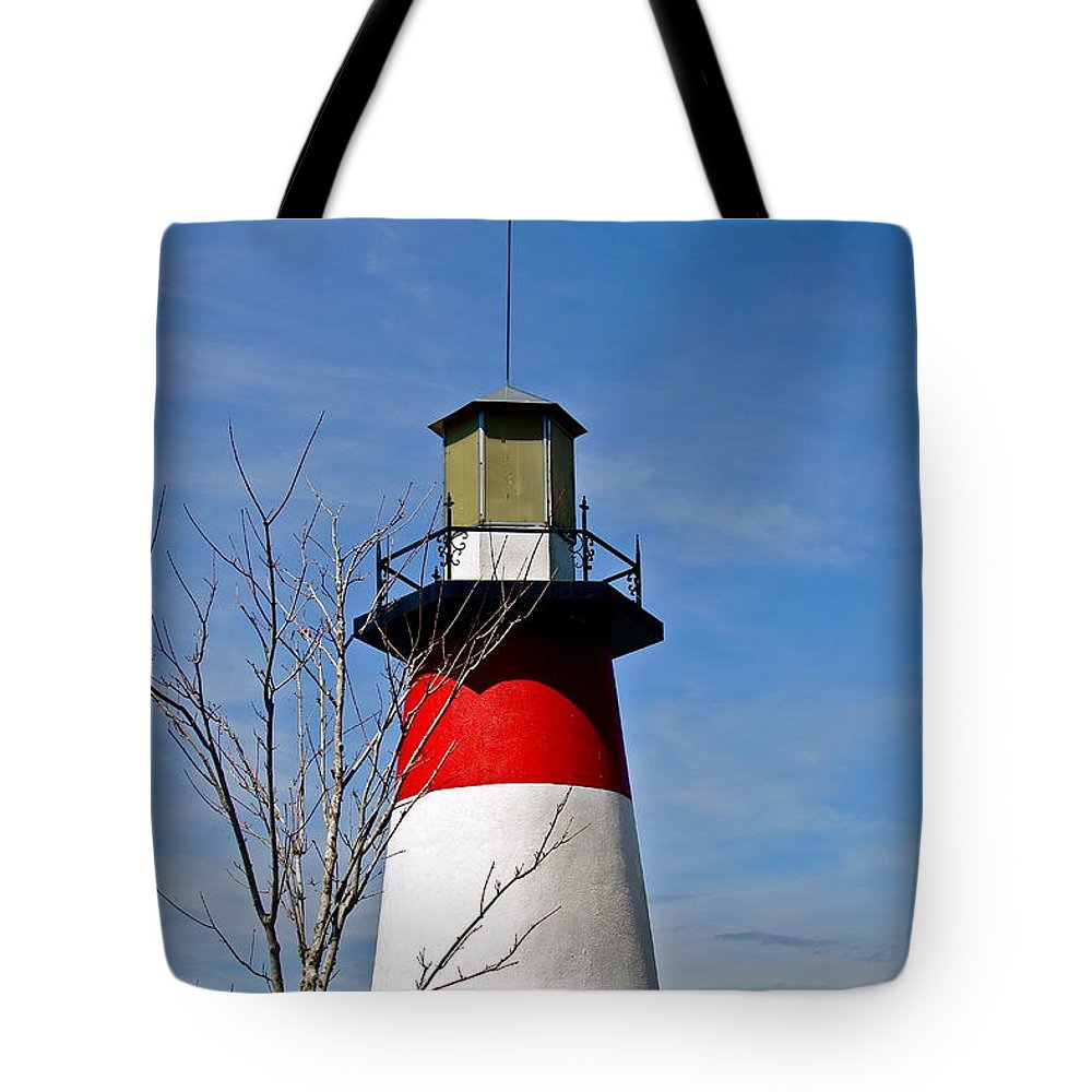 Lighthouse Tote Bag featuring the photograph Mount Dora Lighthouse Close Up by Denise Mazzocco