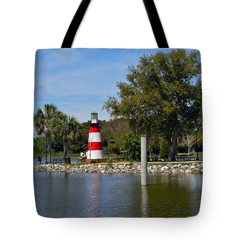 Lighthouse Tote Bag featuring the photograph Mount Dora Lighthouse by Denise Mazzocco