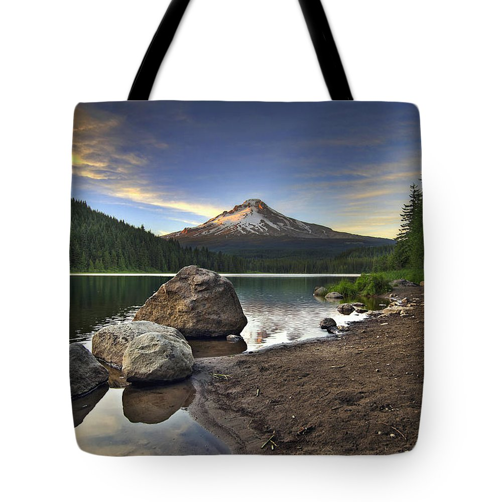 Mount Tote Bag featuring the photograph Mount Hood At Trillium Lake Sunset by David Gn