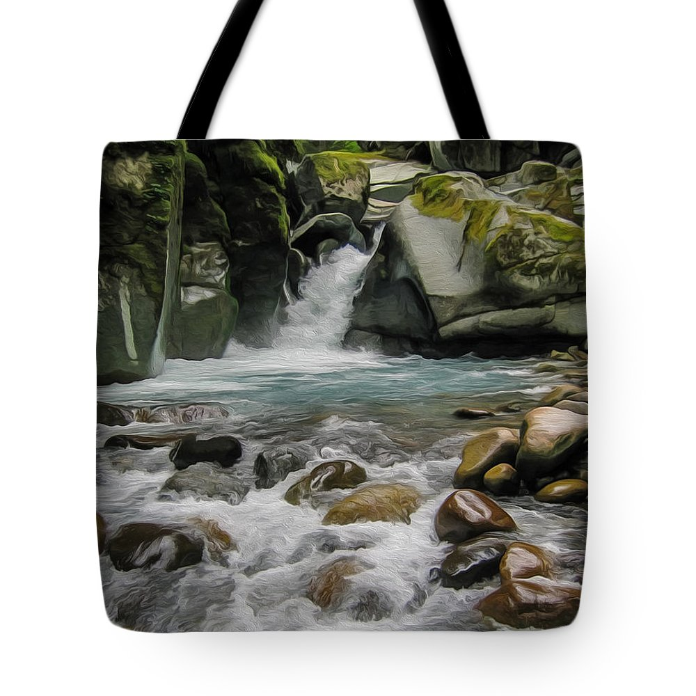 Waterfalls Tote Bag featuring the painting Mount Rainier Falls by John Haldane