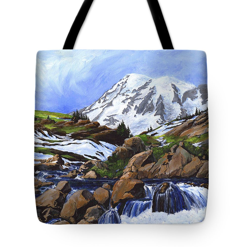 Landscape Tote Bag featuring the painting Mount Rainier From Edith Creek by Carlene Salazar