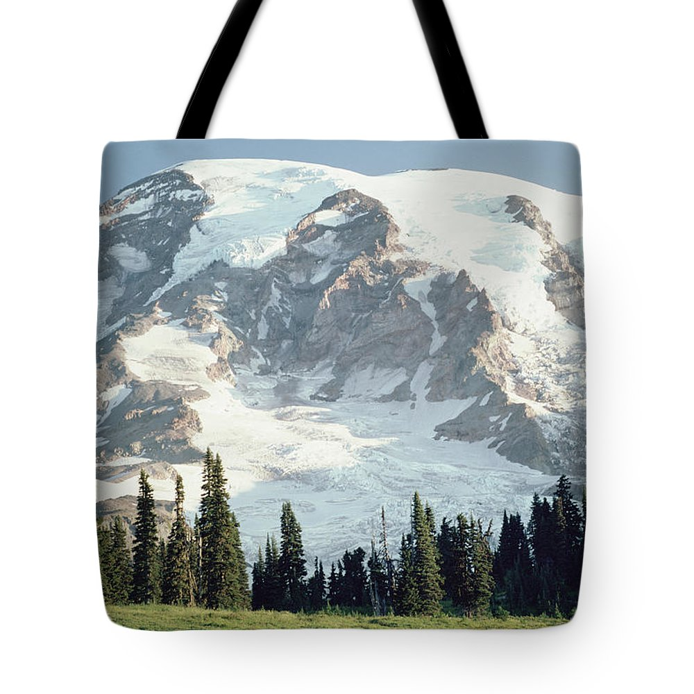 Cascade Mountains Tote Bag featuring the photograph Mount Rainier Peak by Tim Fitzharris