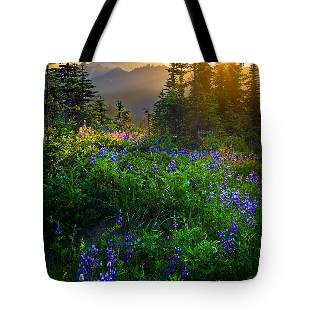 Mount Rainier Photographs Tote Bags