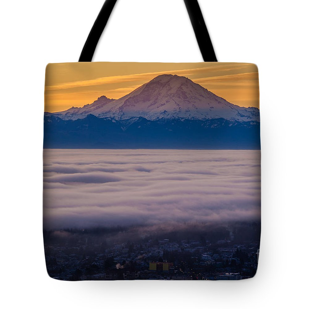 Seattle Tote Bag featuring the photograph Mount Rainier Sunrise Mood by Mike Reid