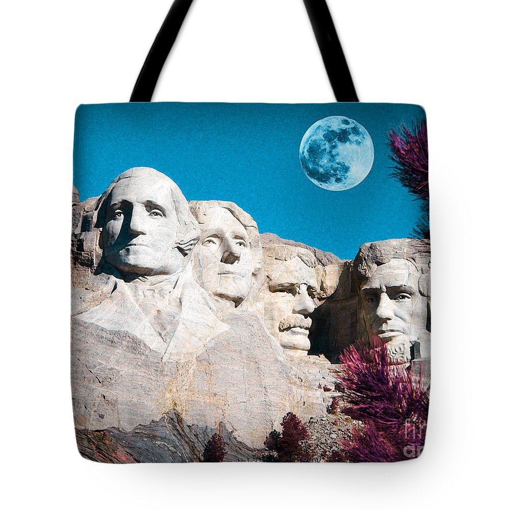 Mount Rushmore In South Dakota Tote Bag featuring the mixed media Mount Rushmore In South Dakota by Celestial Images