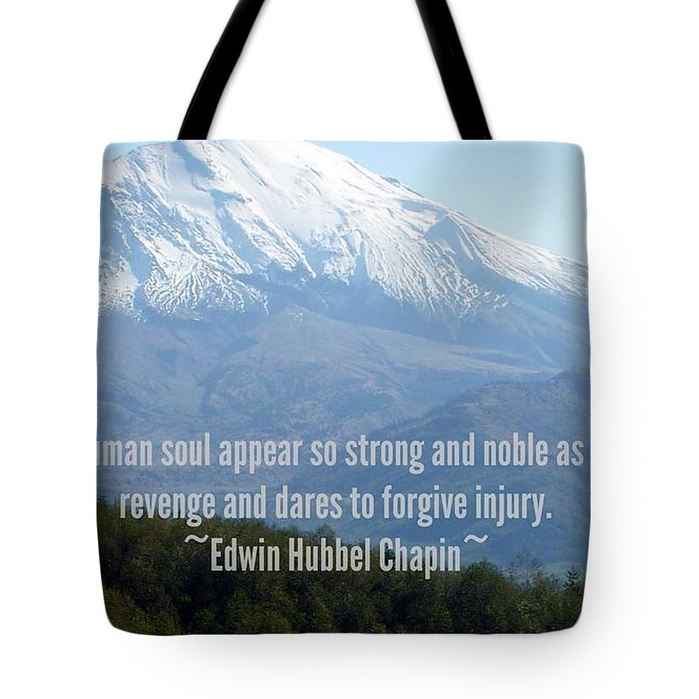 Susan Garren Pixels.com Unique Gift Ideas Of Iphone 5 And Galaxy Phone Case Covers Tote Bag featuring the photograph Mount Saint Helen's Text by Susan Garren