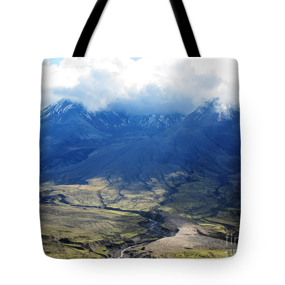 Landscape Tote Bag featuring the photograph Mount St. Helen's Cloud Kissed by Ron Tackett