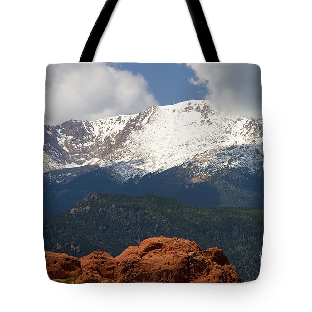 Garden Of The Gods Tote Bag featuring the photograph Mountain Clouds by Steve Krull