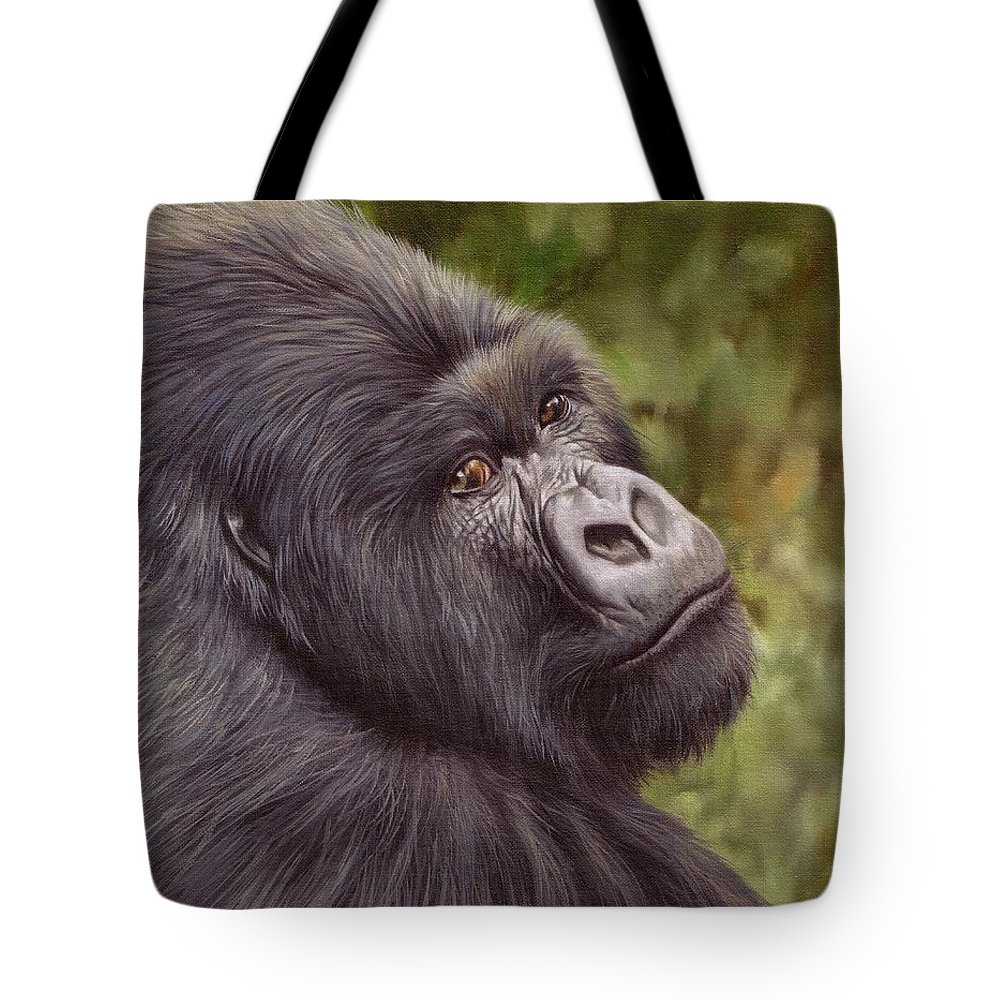 afd466118f5c Gorilla Tote Bag featuring the painting Mountain Gorilla Painting by David  Stribbling
