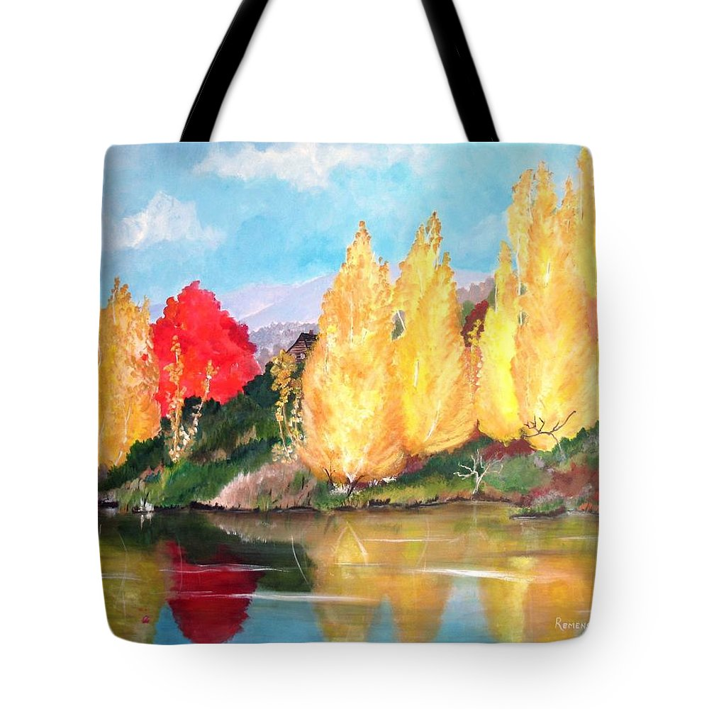 Mountian Scene Tote Bag featuring the painting Mountain Hideaway by Barbara Remensnyder