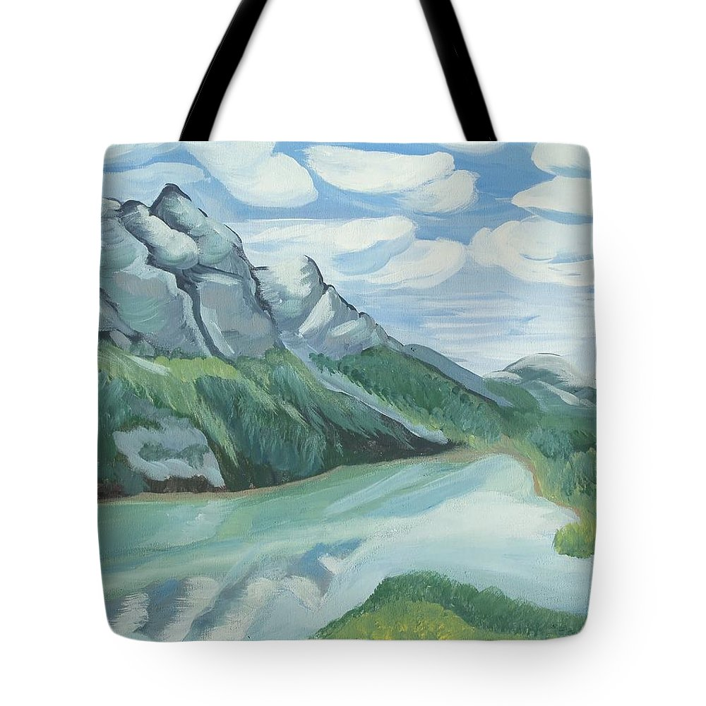 Lake Tote Bag featuring the painting Lake Louise by Christine McNulty