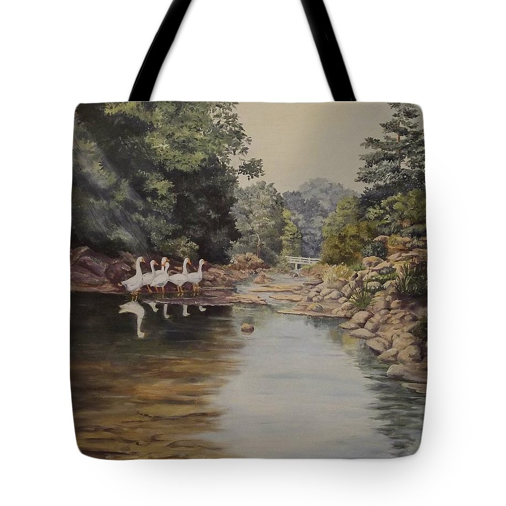 Landscape Tote Bag featuring the painting Mountain Home Creek by Wanda Dansereau