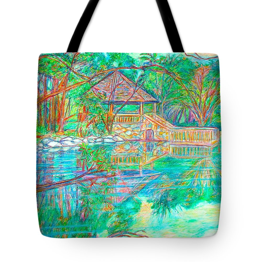 Lake Tote Bag featuring the painting Mountain Lake Reflections by Kendall Kessler
