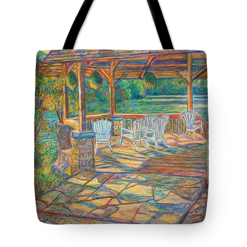 Lake Tote Bag featuring the painting Mountain Lake Shadows by Kendall Kessler