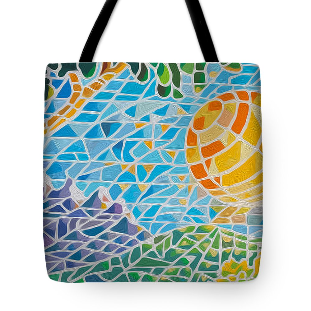 Acrylics Tote Bag featuring the painting Mountain Of God by Anthony Mwangi