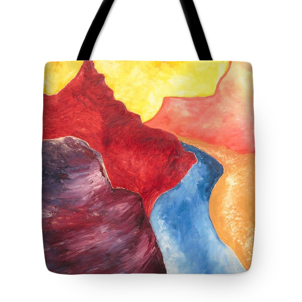 Abstract Tote Bag featuring the painting Mountain Pass by Zodiak Paredes