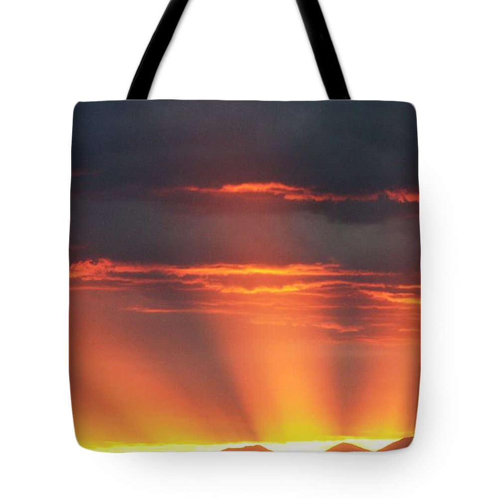 Sunrays Tote Bag featuring the photograph Mountain Rays by Shane Bechler
