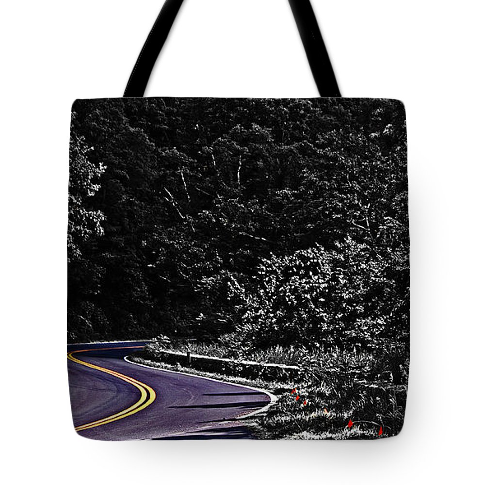 Nature Tote Bag featuring the photograph Mountain Road by Tom Gari Gallery-Three-Photography