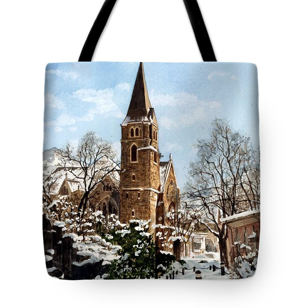 Church Tote Bag featuring the painting Mountain Sanctuary by Barbara Jewell