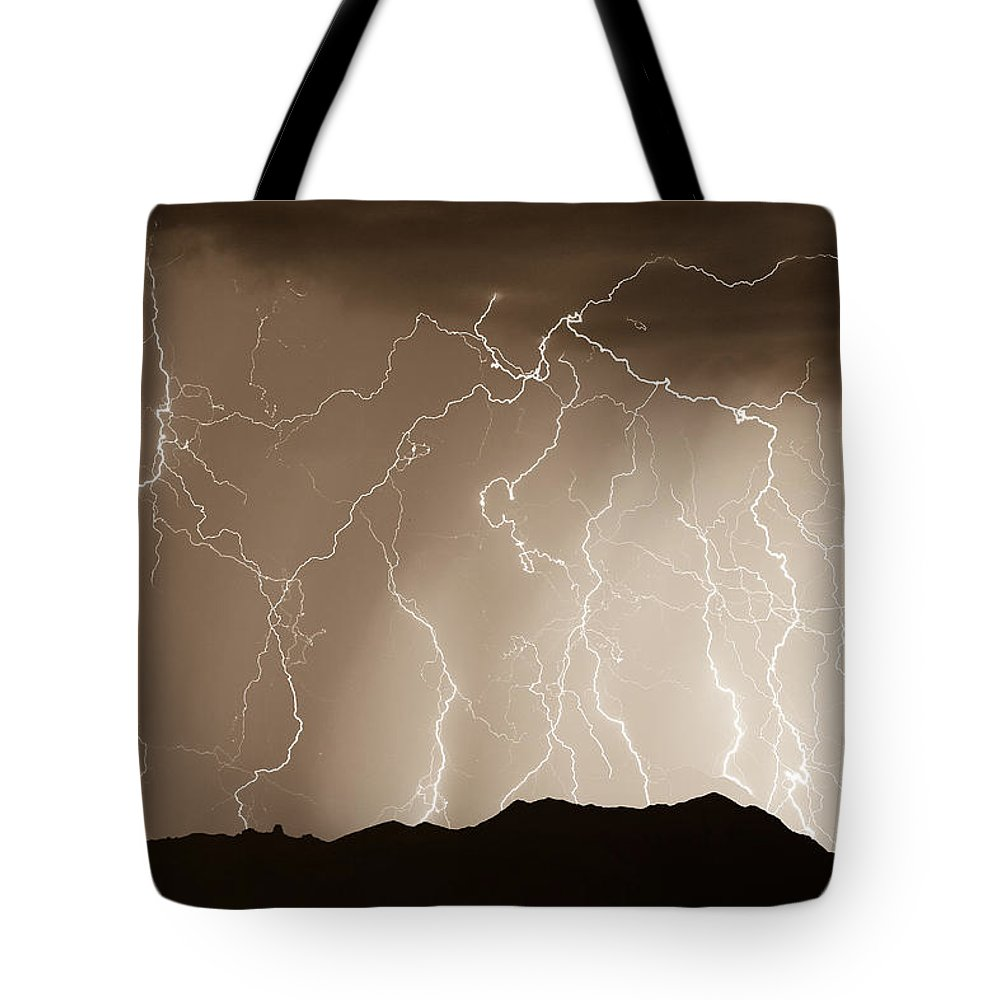 Lightning Tote Bag featuring the photograph Mountain Storm - Sepia Print by James BO Insogna