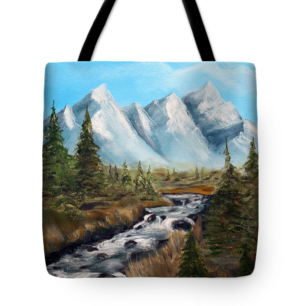 Wildlife Tote Bag featuring the painting Mountain Stream by Robert Schippnick