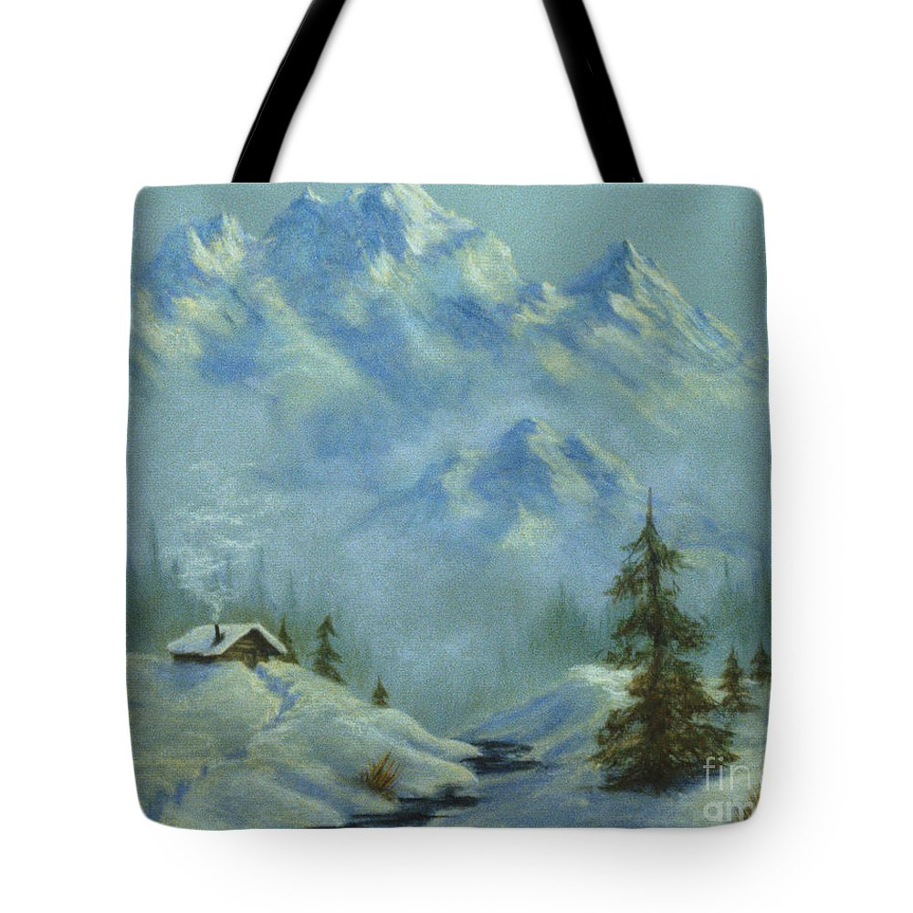 Mountain View With Creek Tote Bag featuring the pastel Mountain View With Creek by Teresa Ascone