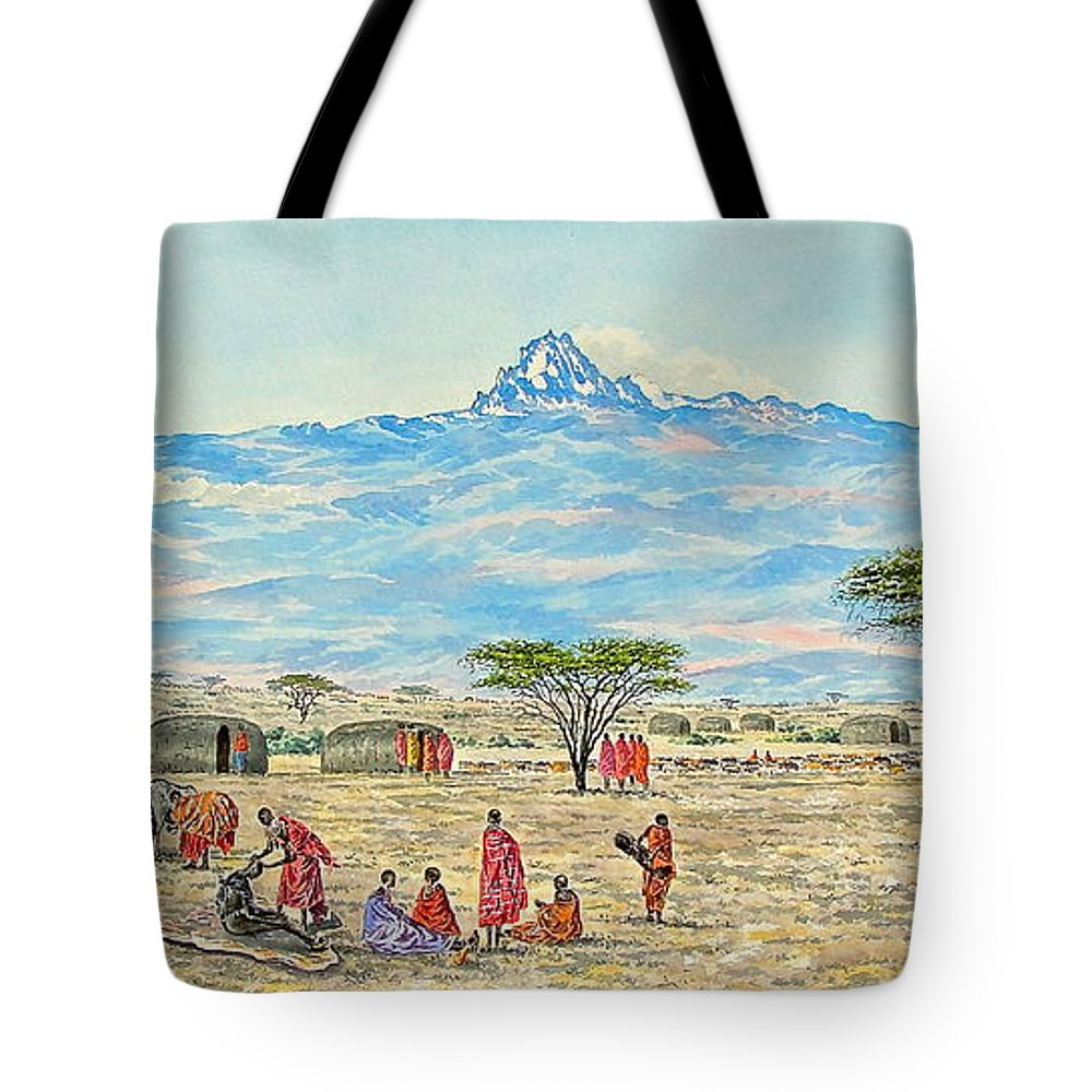 African Paintings Tote Bag featuring the painting Mountain Village by Joseph Thiongo