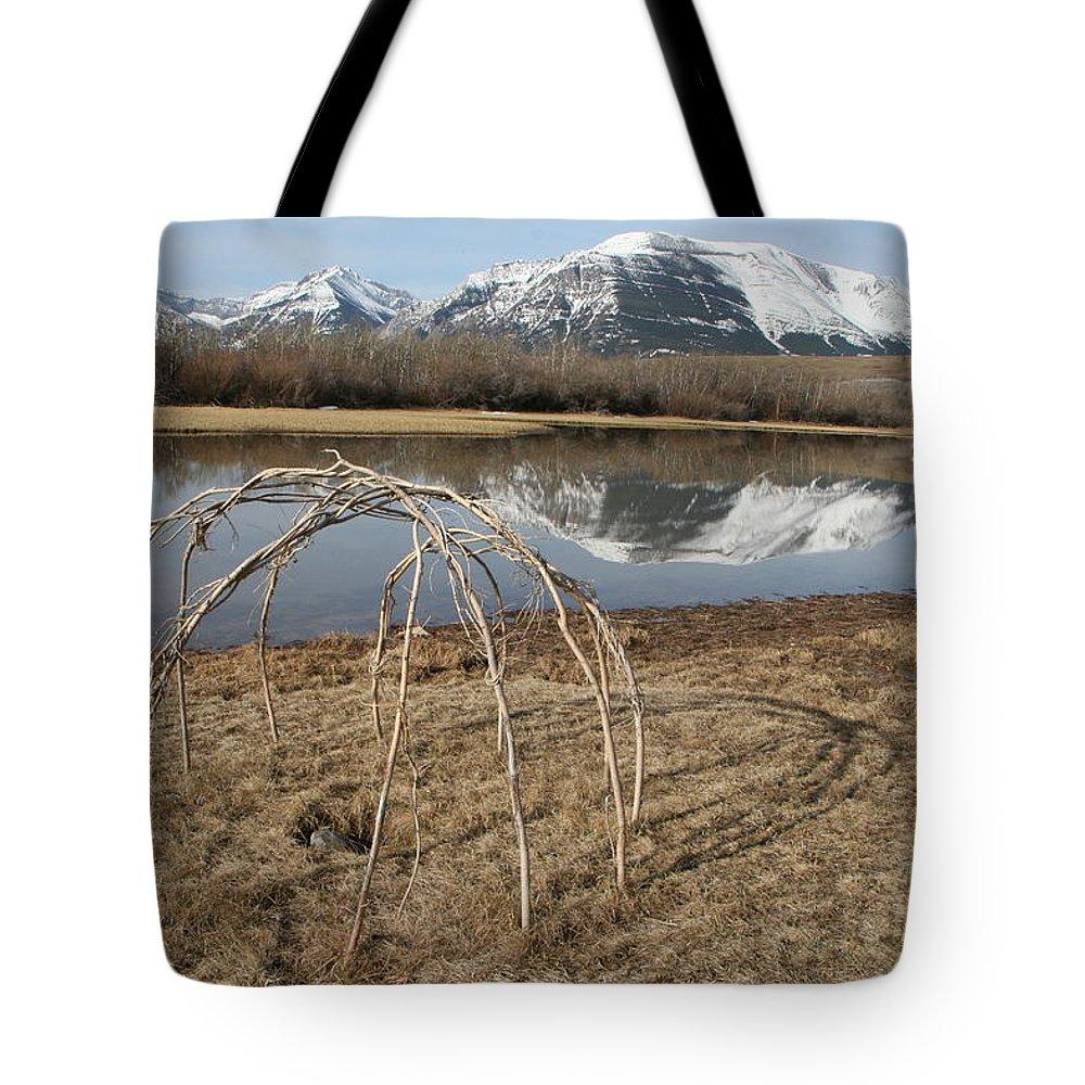Aboriginal Sweat Lodge Tote Bag featuring the photograph Aboriginal Sacred Sweat Lodge - Waterton Lakes Nat. Park, Alberta by Ian Mcadie