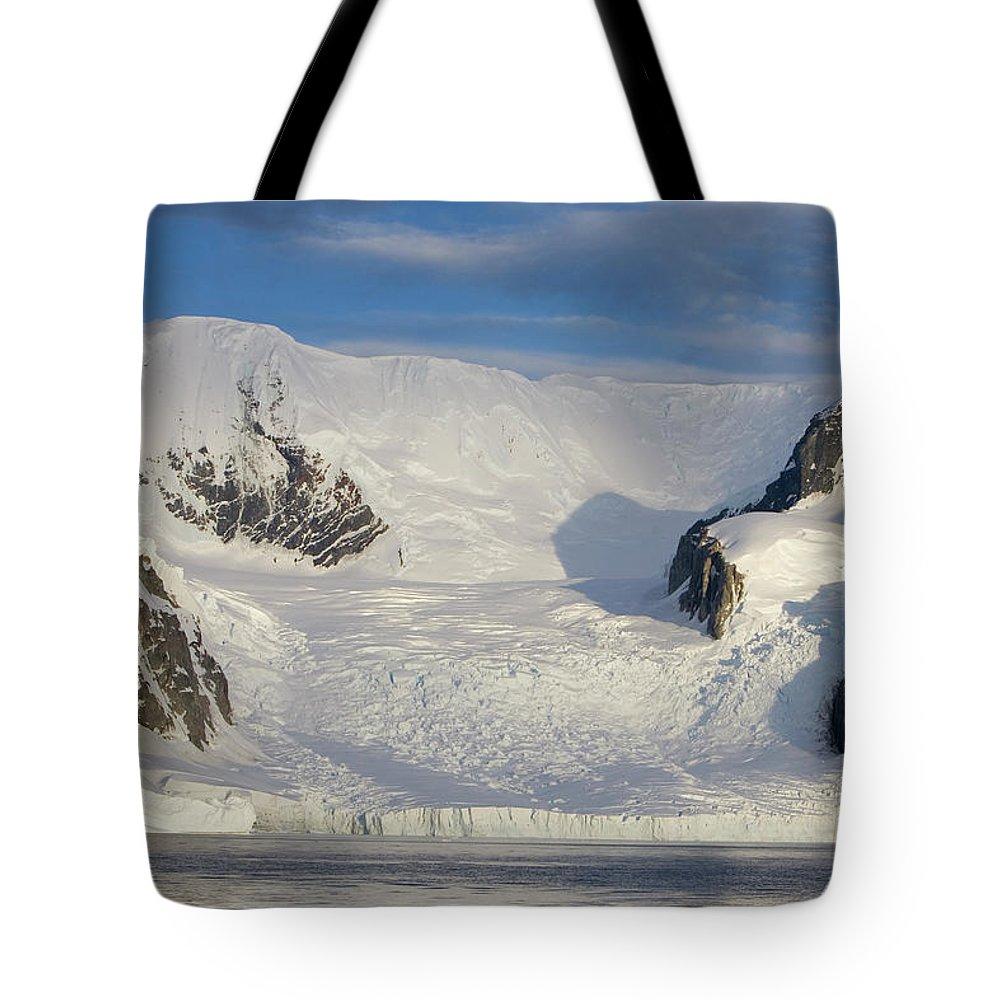 Antarctica Tote Bag featuring the photograph Mountains And Glacier At Sunset by Suzi Eszterhas
