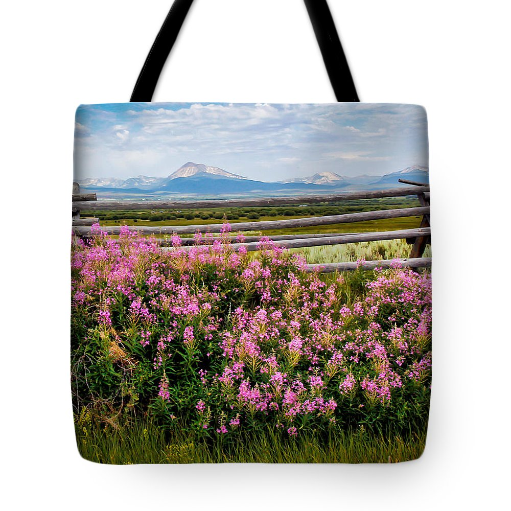 Wild Flowers Tote Bag featuring the photograph Mountains And Wildflowers by Athena Mckinzie