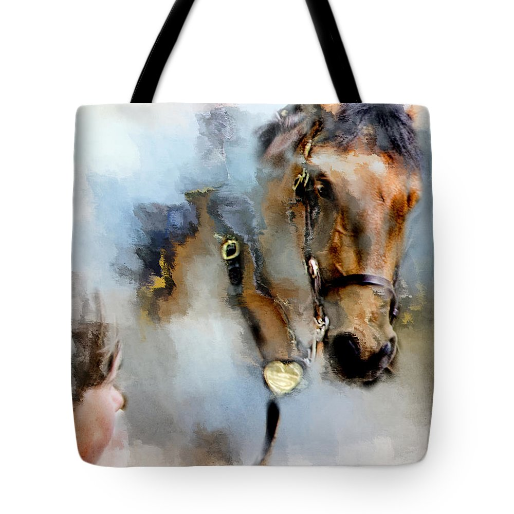 Evie Tote Bag featuring the photograph Mounted New York Sunday by Evie Carrier