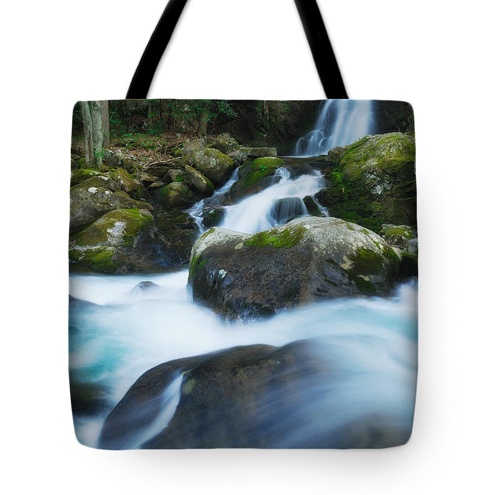 Great Smoky Mountains Tote Bag featuring the photograph Mouse Creek Falls In Colour by Photography By Sai
