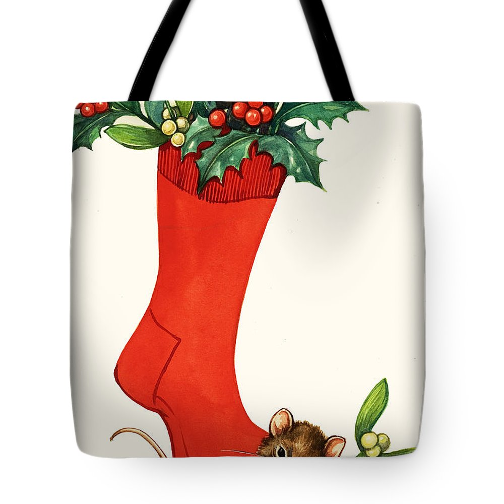 Mice Tote Bag featuring the painting Mouse In A Christmas Sock by English School