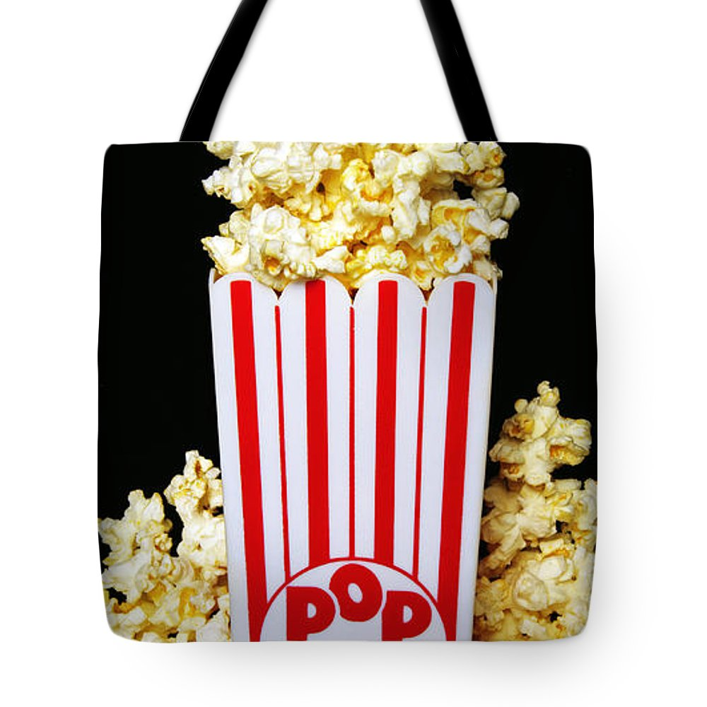 Popcorn Art Tote Bag featuring the photograph Movie Night Pop Corn by Andee Design