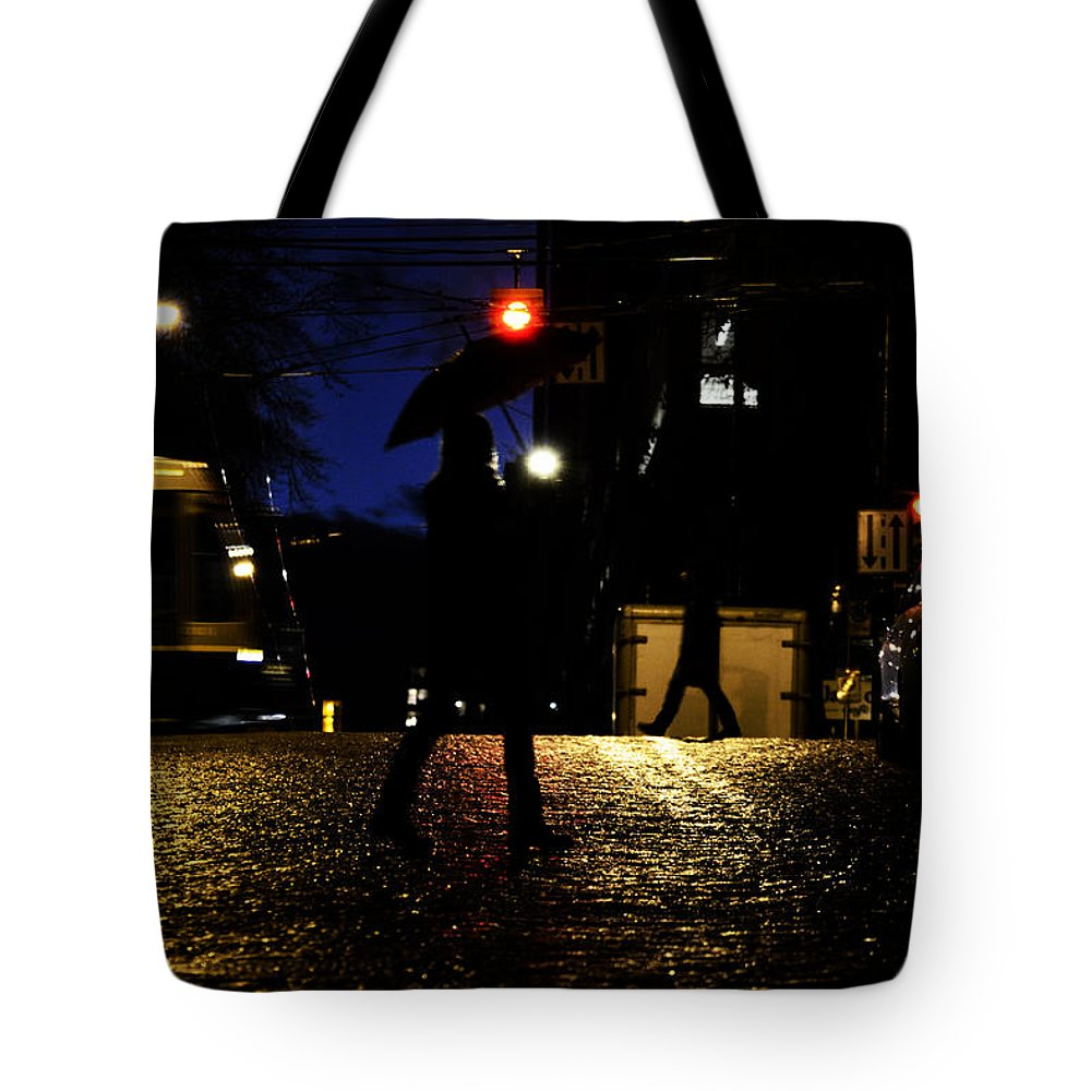 Street Photography Tote Bag featuring the photograph Moving Rain by The Artist Project