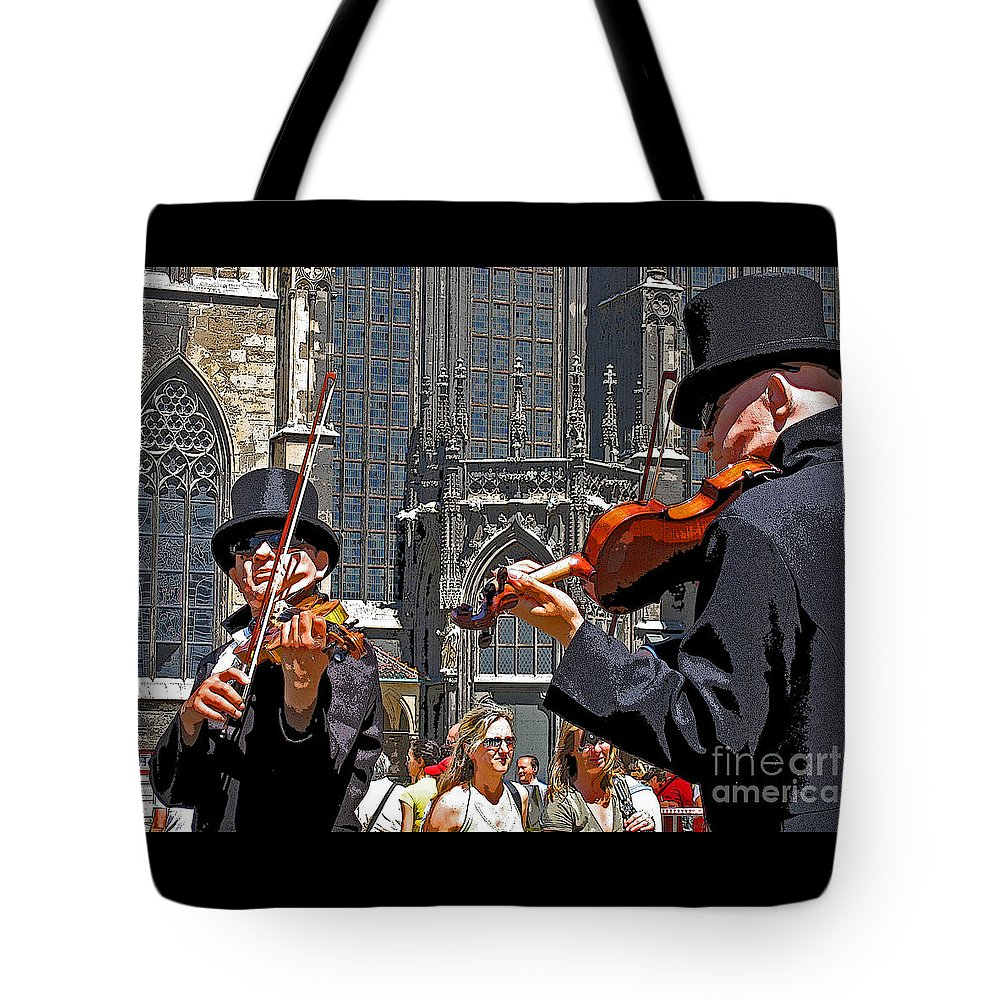 Buskers Tote Bag featuring the photograph Mozart In Masquerade by Ann Horn