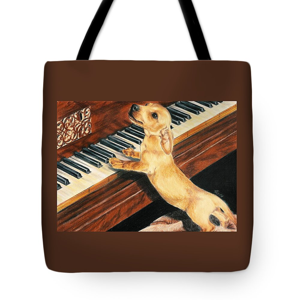Dogs Tote Bag featuring the drawing Mozart's Apprentice by Barbara Keith