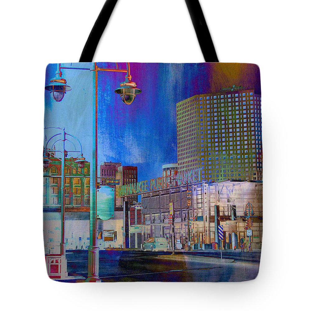 Milwaukee Tote Bag featuring the digital art Mpm And Lamp Post Vivid Abstract by Anita Burgermeister
