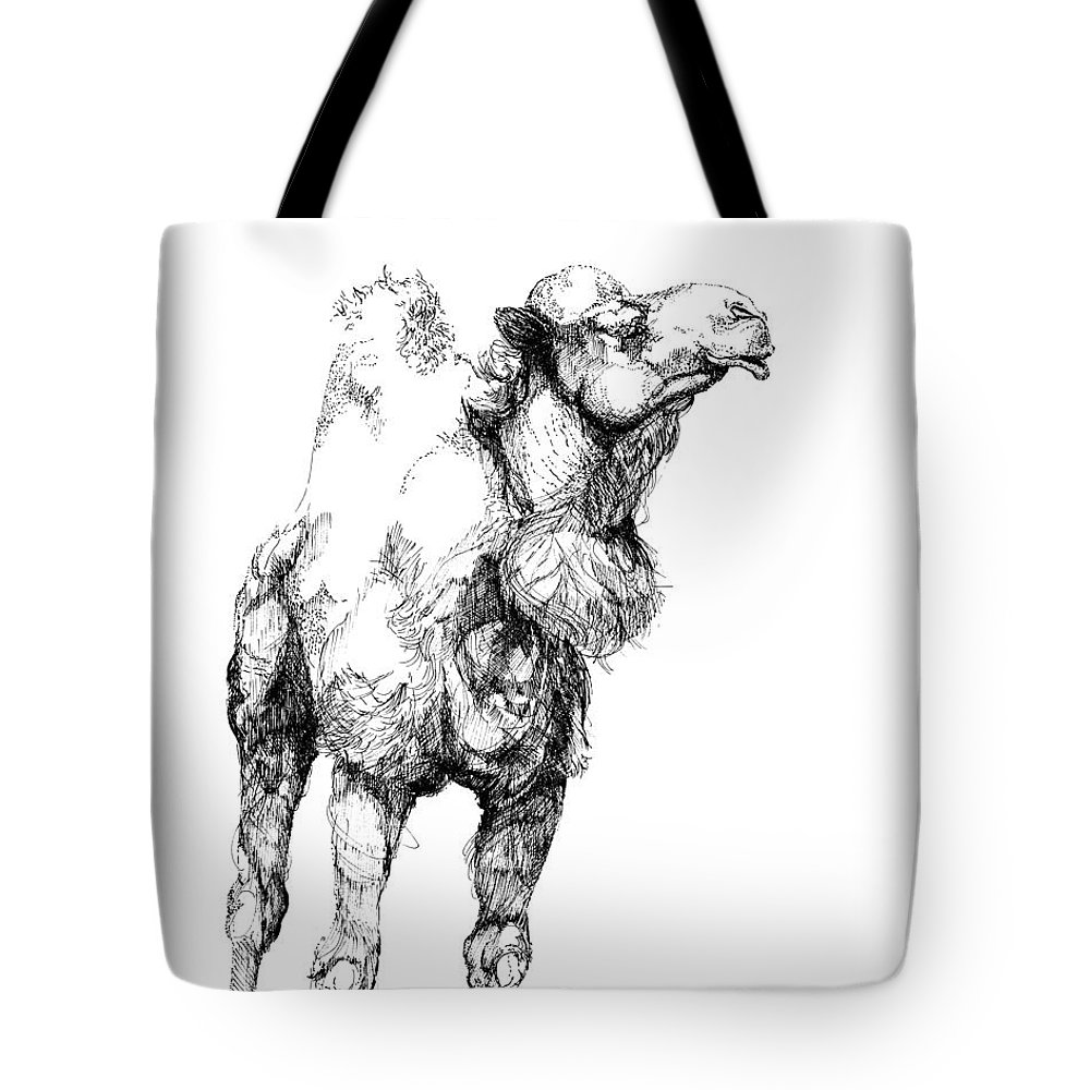 Camel Tote Bag featuring the drawing Mr Camel To You by Lizi Beard-Ward