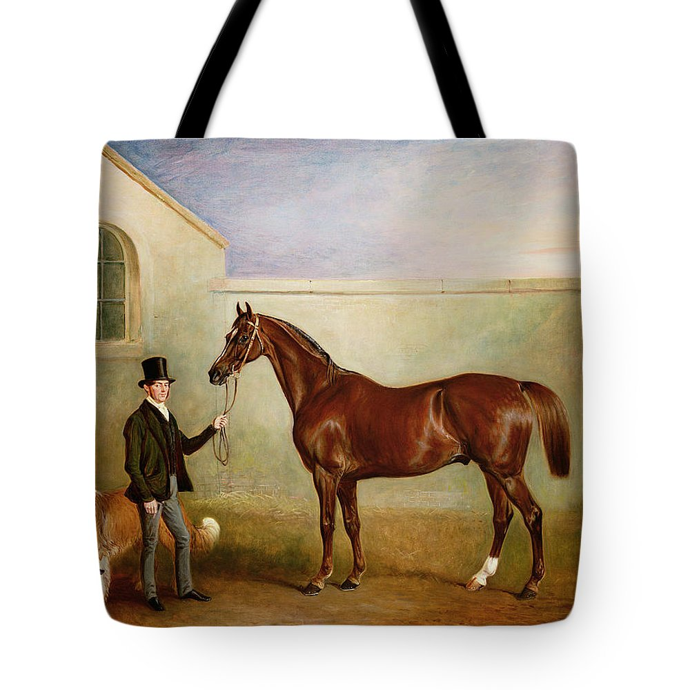 Horse; Pet; Groom Tote Bag featuring the painting Mr Meakin Holding Sir Robert Peels Chestnut Hunter With His Dogs Hector And Jem by John E Ferneley