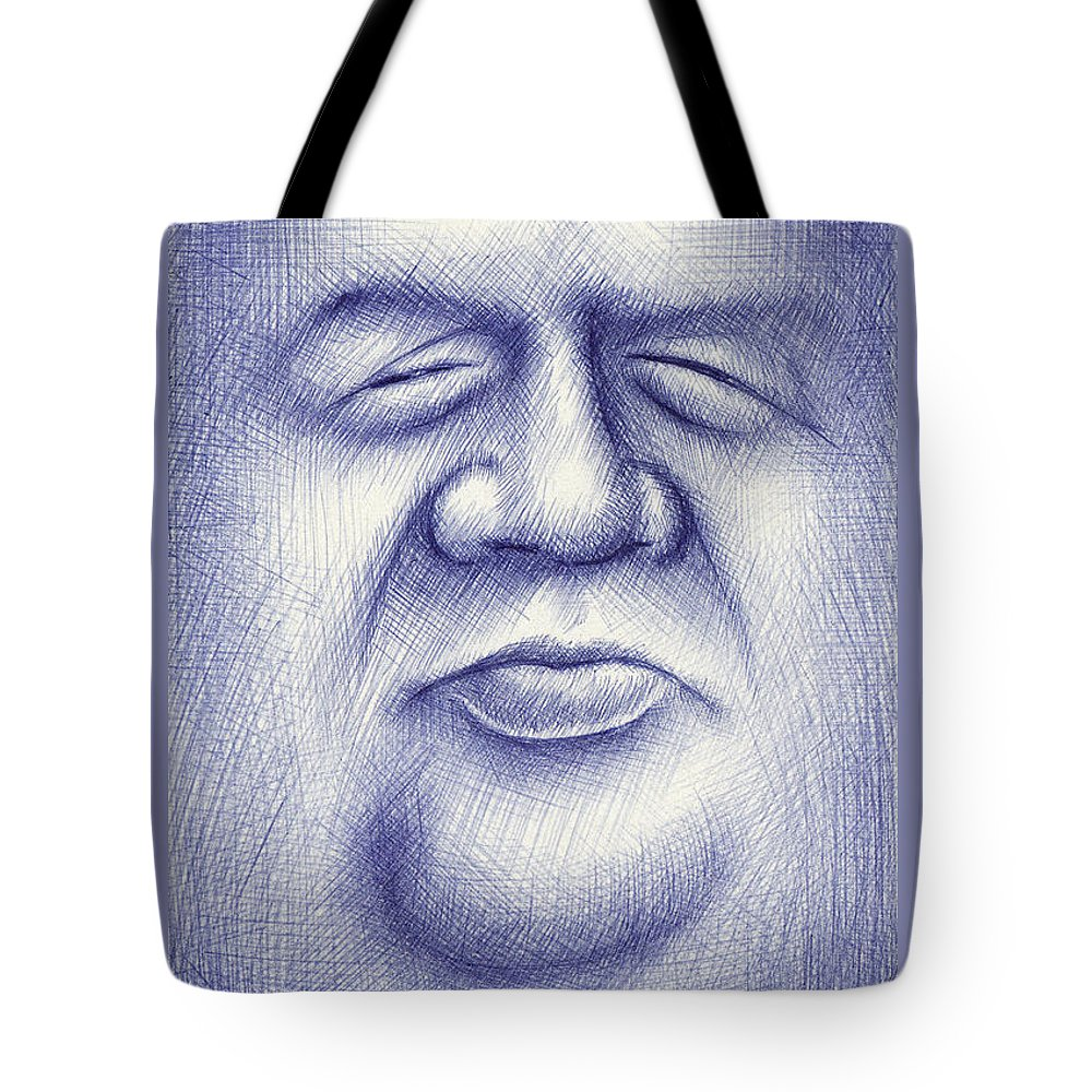 Moon Tote Bag featuring the drawing Mr. Moon by Cristophers Dream Artistry