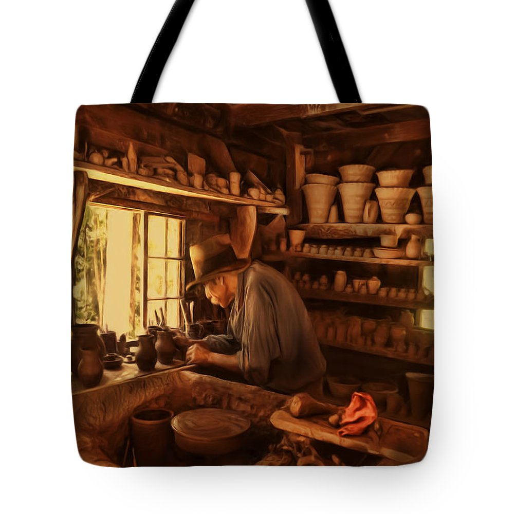 Pottery Tote Bag featuring the photograph Mr. Potter by Lourry Legarde