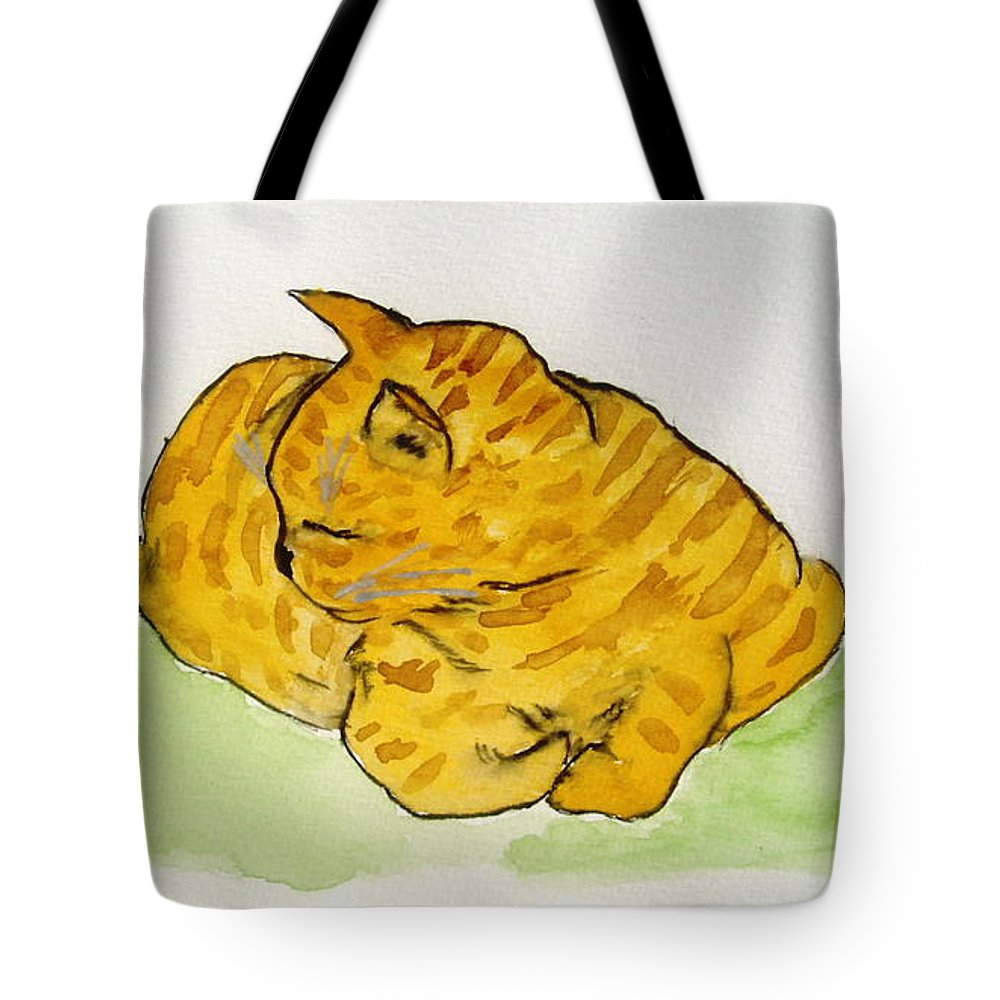 Cat Painting Tote Bag featuring the painting Mr. Yellow by Reina Resto
