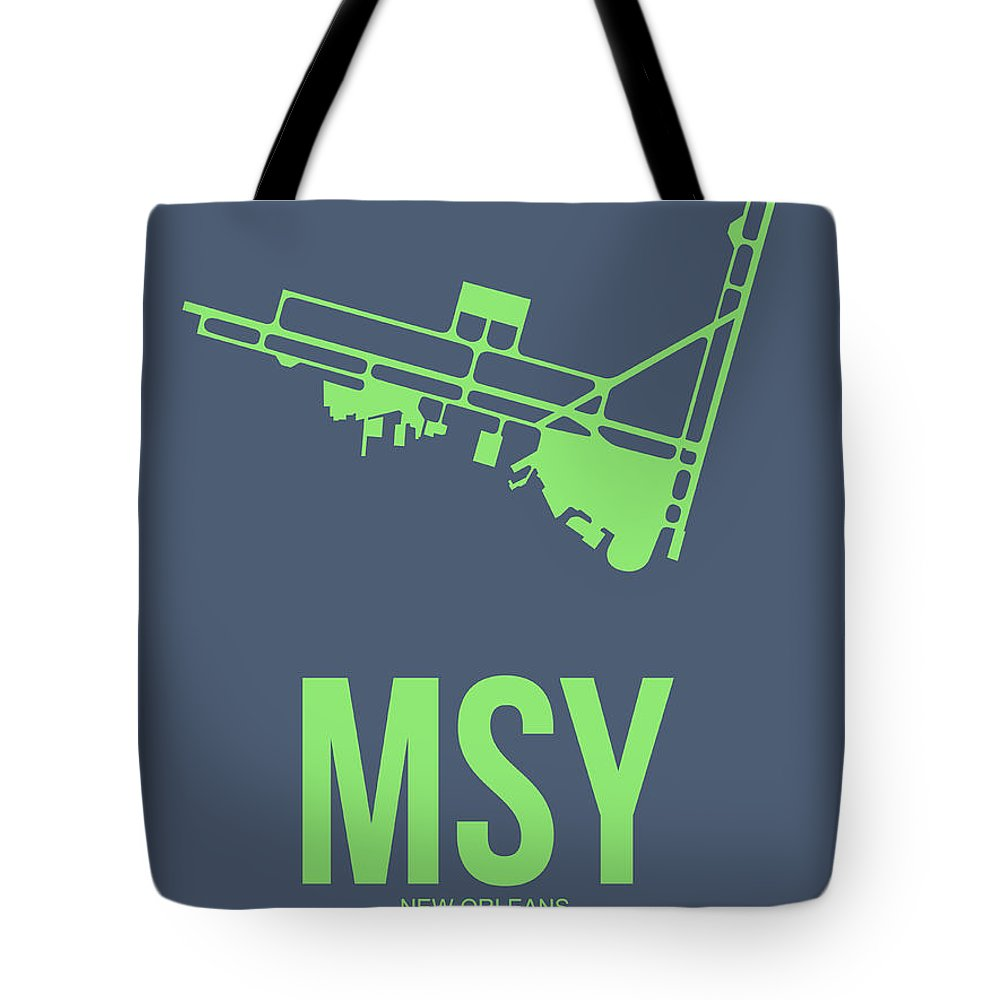 New Orleans Tote Bag featuring the digital art Msy New Orleans Airport Poster 2 by Naxart Studio