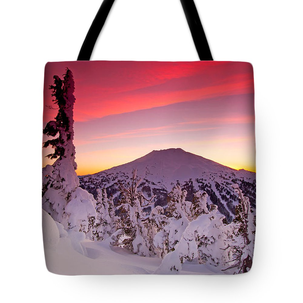 Mountain Peak Landscape Tote Bag featuring the photograph Mt. Bachelor Winter Twilight by Kevin Desrosiers