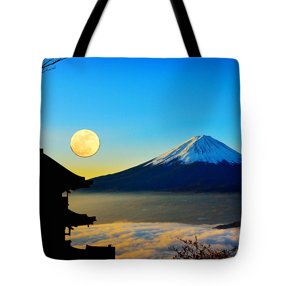 Mt Fuji Tote Bag featuring the mixed media Mt Fuji by Celestial Images