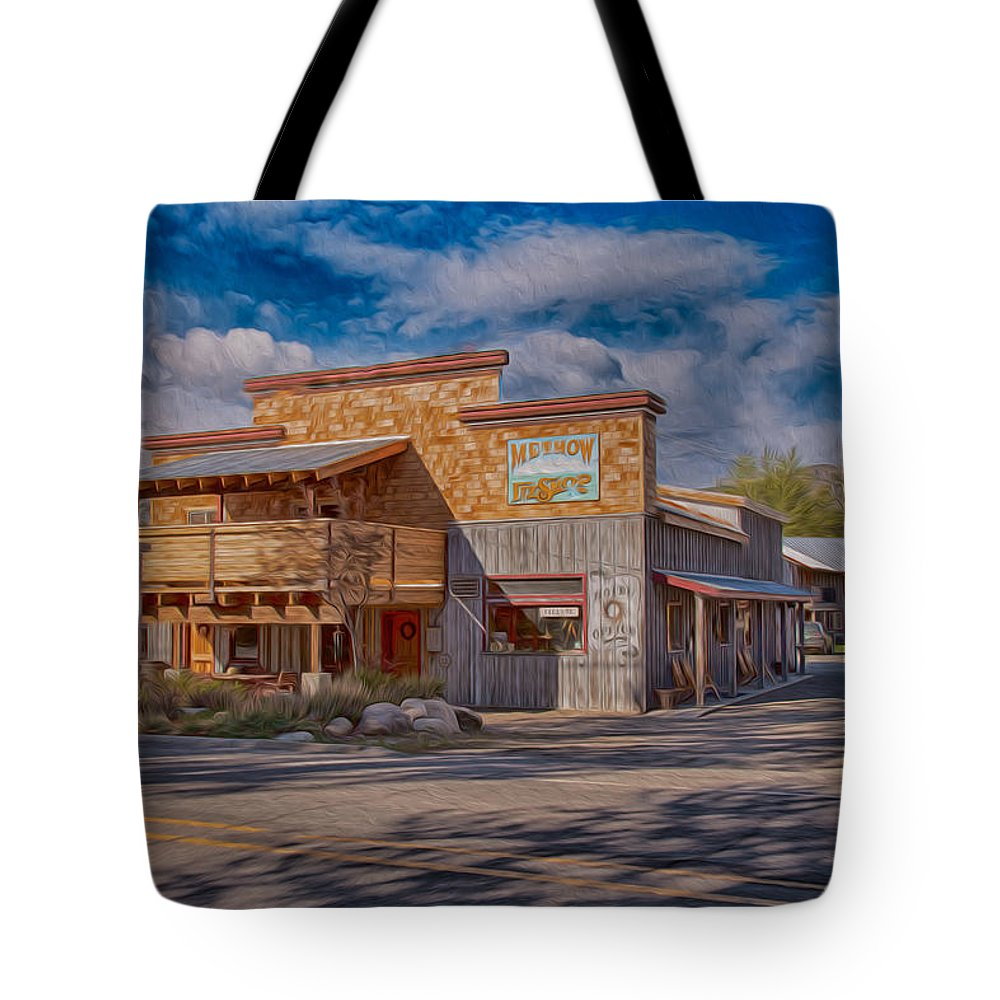 North Cascades Tote Bag featuring the painting Mt Gardner Inn And Fly Shop by Omaste Witkowski